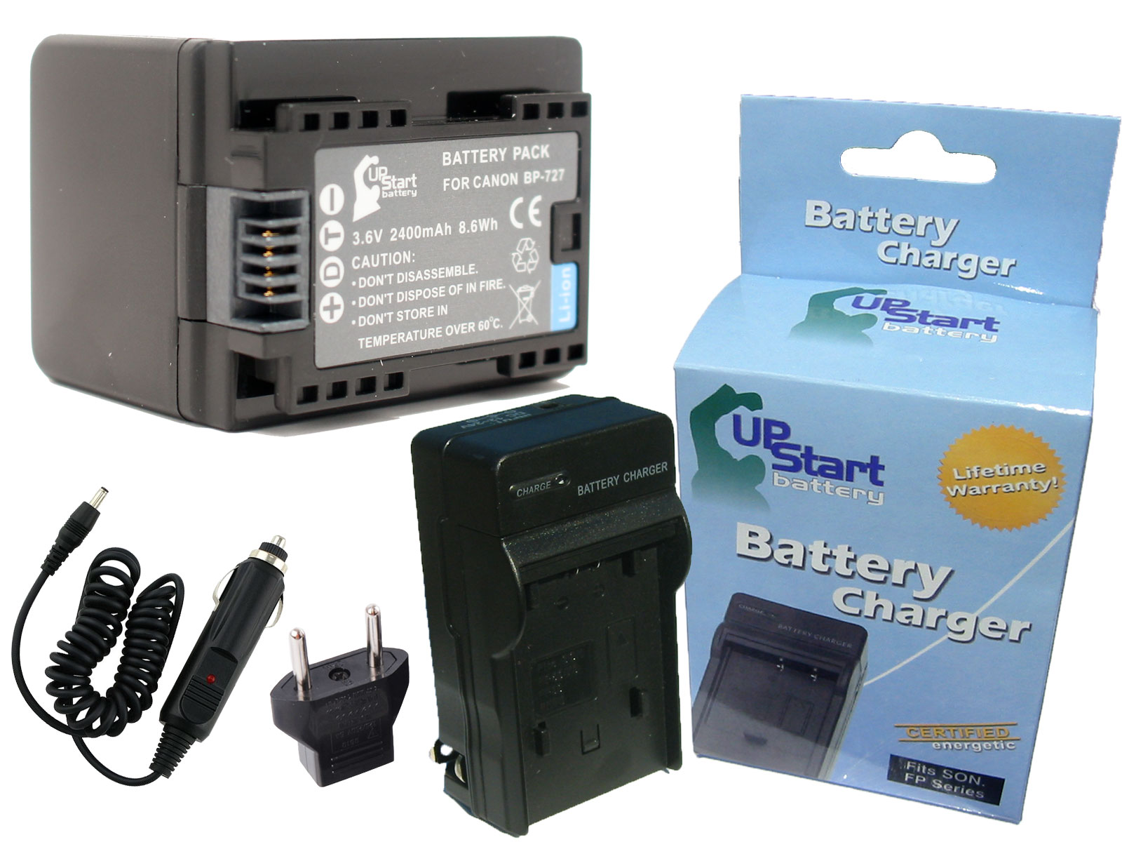 UpStart Battery Canon iVIS HF R42 Battery and Charger with Car Plug and EU Adapter - Replacement for Canon BP-727 Camera Batteries and Chargers at Sears.com