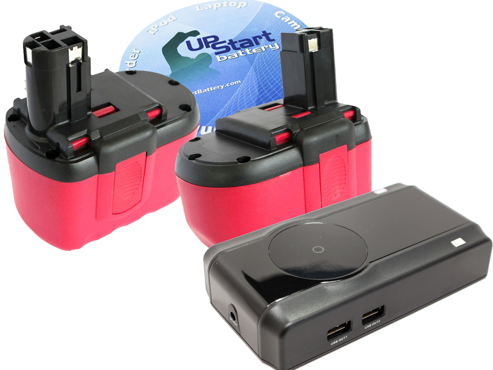 UpStart Battery 2-Pack Bosch 164524 Battery + Charger - Replacement Bosch 24V Battery and Charger (1300mAh, NICD)