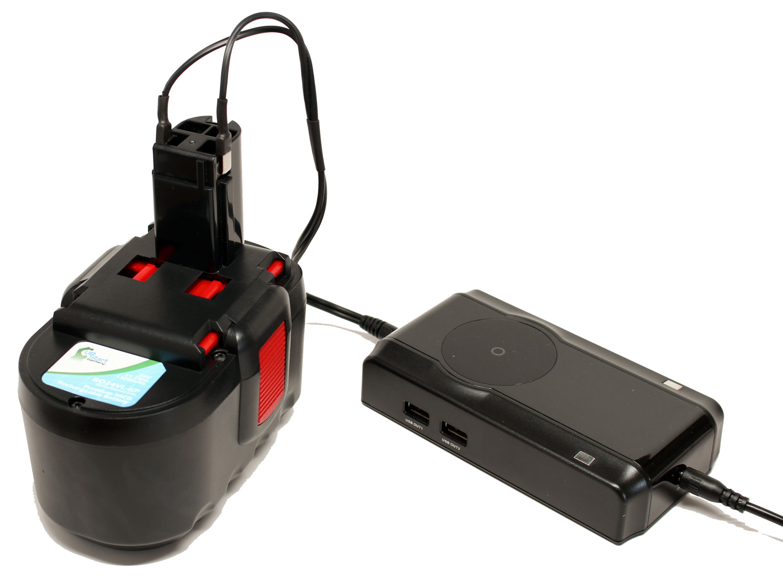 UpStart Battery Bosch GKS24V Battery + Charger - Replacement Bosch 24V Battery and Charger (1300mAh, NICD)