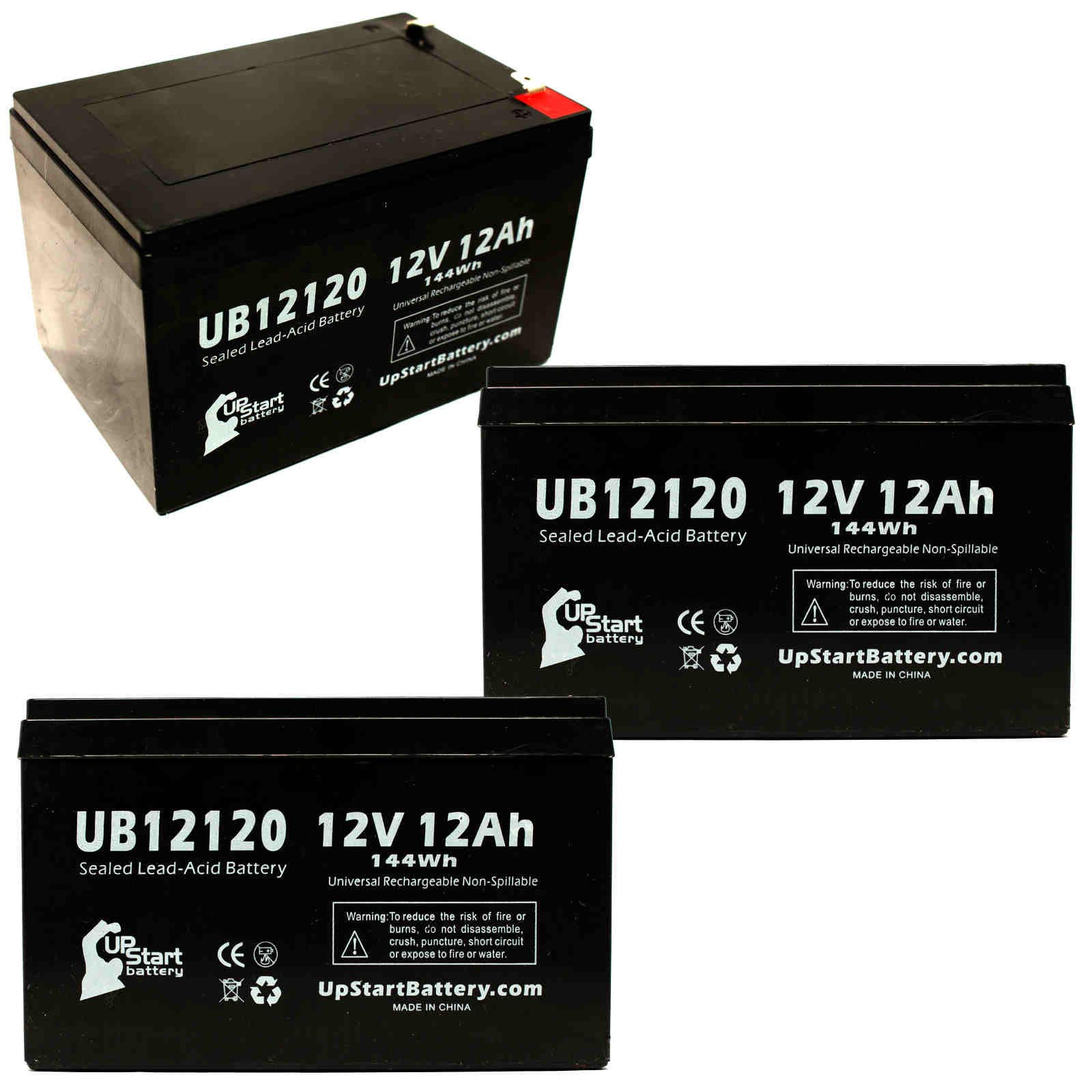 3 pack razor mx500 mx650 battery ub12120 12v 12ah sealed. Black Bedroom Furniture Sets. Home Design Ideas