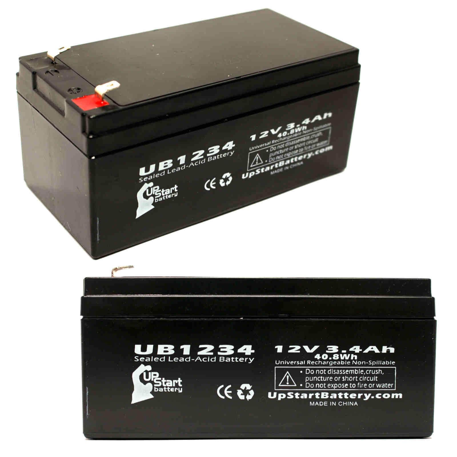 2 pack aquatec fortuna bath lift battery ub1234 12v 3 4ah. Black Bedroom Furniture Sets. Home Design Ideas